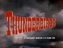 "Series title, ""Thunderbirds"", set against thunderclouds"
