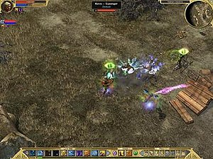 """Titan Quest: Immortal Throne - Gameplay from Titan Quest: Immortal Throne, which is near-identical to its predecessor. Shown is the player character (centre) using a skill on surrounding enemies from the new """"Dream Master"""" ability."""