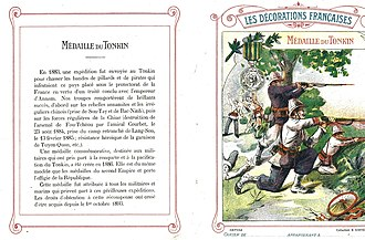 Tonkin Expedition commemorative medal - Educating the young: a French school notebook explains the medal's significance