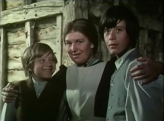 """Charlotte Mitchell - Tony Maiden as Albert Clifton (left), Charlotte Mitchell as Amy Winthrop (middle) and Roderick Shaw as Kevin Gordon (right) in the episode """"The Ponies"""" of the first series of The Adventures of Black Beauty."""