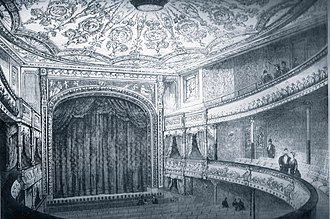drawing of the interior of a Victorian theatre, amphitheatre shape, with stalls, circle and gallery