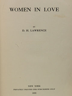 <i>Women in Love</i> 1920 novel by D. H. Lawrence