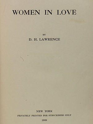 Women in Love - Title page of the first edition