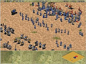 Age of Empires (video game) - Two armies squaring off, sporting an array of units.