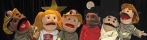 "Chapel Hill Museum - The puppets used in the puppet show ""Johnnie Joins the Fire Department,"" based on teaching fire safety rules to children of all ages."