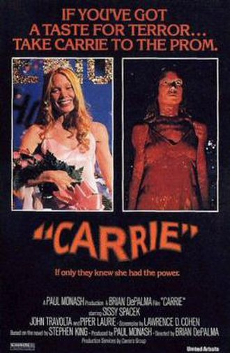 Carrie (1976 film) - Original theatrical release poster featuring Sissy Spacek