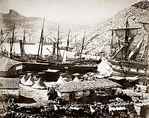 Battle of Balaclava - Cossack Bay, Balaclava. Photo: Roger Fenton c. 1855.
