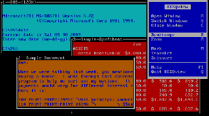 DESQview 2.8 running on top of MS-DOS 6.22 in VirtualBox
