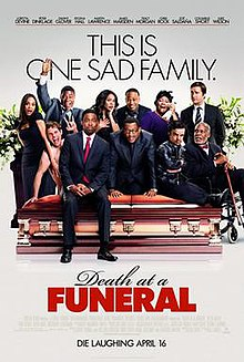 "A group of 11 people are either sitting on or near a casket with ""This is one sad family"" above the people and ""Death at a Funeral"" below the casket."
