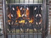 Fireplace with grate.