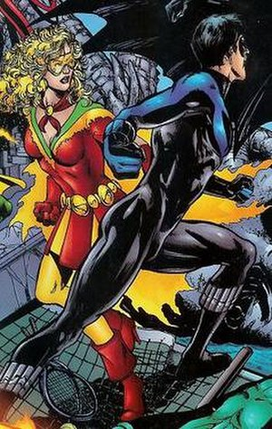 Bette Kane - Bette Kane becomes Flamebird and teams up with her idol, Dick Grayson; art by Phil Jimenez.