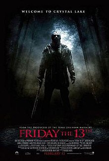 "A film poster with the title ""Friday the 13th"" appearing in red letters just below ""From the producers of The Texas Chainsaw Massacre"". Above the title stands Derek Mears dressed in full Jason Voorhees make-up and a machete in his right hand. Fog and a moon-lit wilderness appear in the background. The production credits appear in small font at the bottom of the poster."