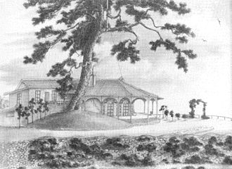 Thomas Blake Glover - Glover House known as Ipponmatsu (Single Pine Tree) from a drawing of 1863. The tree was chopped down in the early 1900s