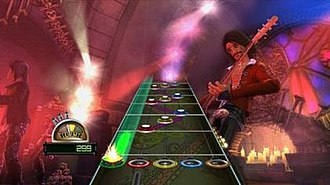"Guitar Hero World Tour - ""Slider Gems"", note gems connected by a semi-transparent colored line, can be played by sliding one's fingers up and down the touch-sensitive pad on the new World Tour guitar controller, or, alternatively, by simply pressing the corresponding fret button like with hammer-ons and pull-offs (albeit without needing to strum at all) if using an older Guitar Hero controller that does not have the touch-pad."