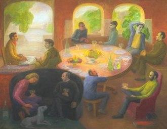 Helen Lessore - Helen Lessore, Symposium I, 1974-1977, oil on canvas, Tate