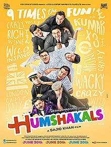 "The image shows a human pyramid consisting of three men in matching suit coats above the same three men in matching casual shirts above the same three men in matching overcoats and hats against yellow background and the word ""Humshakals"" in multicolored letters."