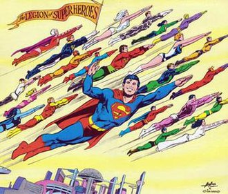 Legion of Super-Heroes (1958 team) - The Legion of Super-Heroes as seen in the 1976 DC Calendar. Art by Neal Adams and Dick Giordano.