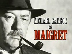 Series titles and an image of Michael Gambon as Maigret