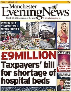 <i>Manchester Evening News</i> newspaper covering the Manchester area of the United Kingdom
