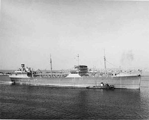 USNS Mission San Gabriel (T-AO-124) underway in the harbor at Long Beach, California, date unknown
