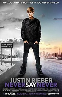 2011 3-D concert film centering on singer Justin Bieber directed by Jon M. Chu