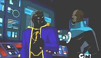 John Stewart (comics) - John Stewart talking with Future Static in Justice League Unlimited.