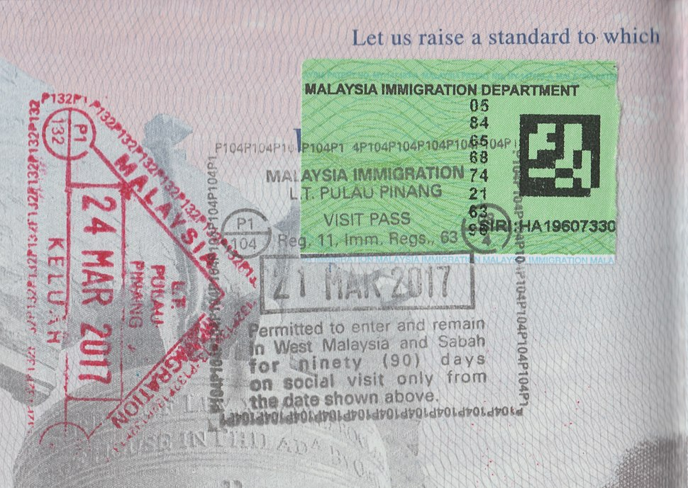 Penang Malaysia 90 Day Passport Stamp