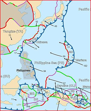 Benham Rise - The map shows the features of the Philippine Sea Plate.