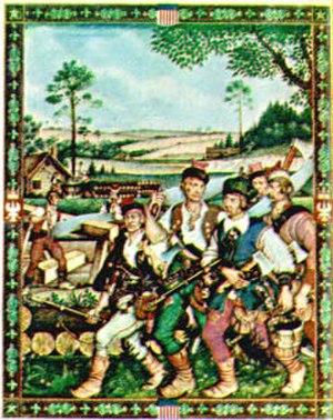 Jamestown Polish craftsmen - Poles in Jamestown by Arthur Szyk, 1939. Depiction of the Jamestown Polish craftsmen.