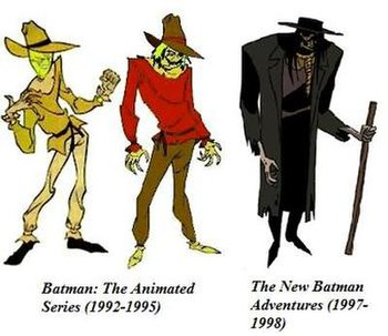 The Scarecrow designs throughout Batman: The A...
