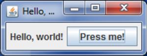 Swing (Java) - The basic example code running on Windows 7