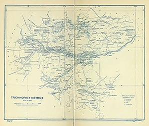Trichinopoly District - A map of Trichinopoly district in 1907