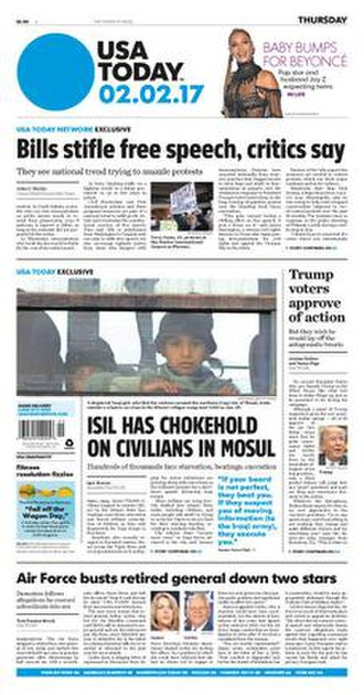 USA Today - USA Today front page (2 February 2017)