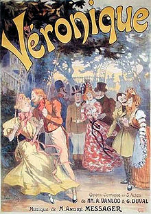 brightly coloured theatre poster showing a festive grouping of characters from Veronique, with the title of the piece in large letters