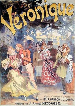 Véronique (operetta) - 1898 Paris theatre poster showing Florestan courting Véronique