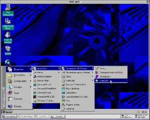 Windows Virtual PC - Connectix Virtual PC version 3 in Mac OS 9, running a Brazilian Portuguese edition of Windows 95