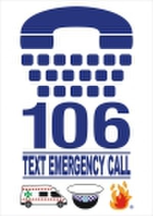 000 (emergency telephone number) - TTY hearing or speech IMPAIRMENT (106) Logo