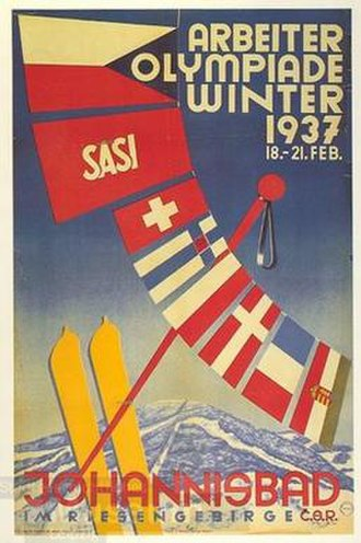 1937 Workers' Winter Olympiad - Image: 1937 Workers' Winter Olympiad poster
