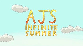"AJ's Infinite Summer - The words ""AJ's Infinite Summer"" over a sky background with clouds."