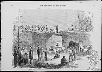 Maryland in the American Civil War - 8th Massachusetts regiment repairing railroad bridges from Annapolis to Washington.