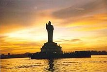 Buddha statue at the centre of the Husain Sagar Lake