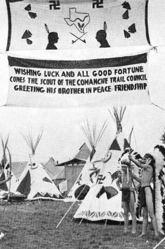National Scout jamboree (Boy Scouts of America) - Comanche Trail Council Indian Camp at the National Scout jamboree in Washington, D.C., July 1937. The counterclockwise swastika emblems used for decoration still hold ancient meanings of luck and well-being, and not to be confused with clockwise Nazis symbolism.