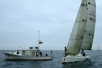 Sailing (sport) - A 1D35 near the race committee boat, Humber Bay, Toronto, Ontario