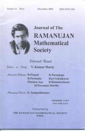 Ramanujan Mathematical Society - Cover page of December 2004 issue of the Journal of Ramanujan Mathematical Society