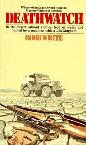 Deathwatch (novel) - Cover showing the mojave desert, Ben's Jeep CJ, and Madec's rifle.