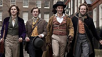 Desperate Romantics - Publicity still portraying (left to right) Samuel Barnett as John Everett Millais, Sam Crane as Fred Walters, Aidan Turner as Dante Gabriel Rossetti, Rafe Spall as William Holman Hunt.