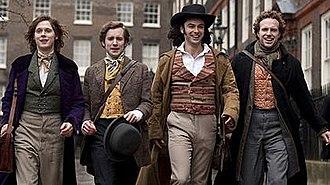 Desperate Romantics - Publicity still portraying (left to right) Samuel Barnett as John Everett Millais, Sam Crane as Fred Walters, Aidan Turner as Dante Gabriel Rossetti, Rafe Spall as William Holman Hunt.