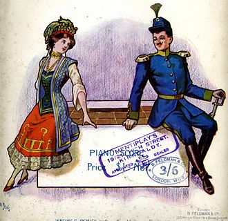 Antimilitarism - Cover of the Piano Score for the light opera The Chocolate Soldier, based on George Bernard Shaw's Arms and the Man – both of which make fun of armies and militarist virtues and present positively a deserter who runs away  from the battlefield and who carries chocolate instead of ammunition.