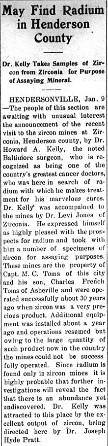 Newspaper Clipping describing a visit on January 9, 1914 from Dr. Howard A. Kelly to Zirconia, NC to survey local zircon mines for radium source to be used in his medical practice. From the January 16, 1914 issue of The News-Record, Marshall, NC.