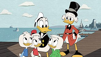 Scrooge McDuck - Scrooge with Donald and his nephews, as they appear in the 2017 DuckTales reboot